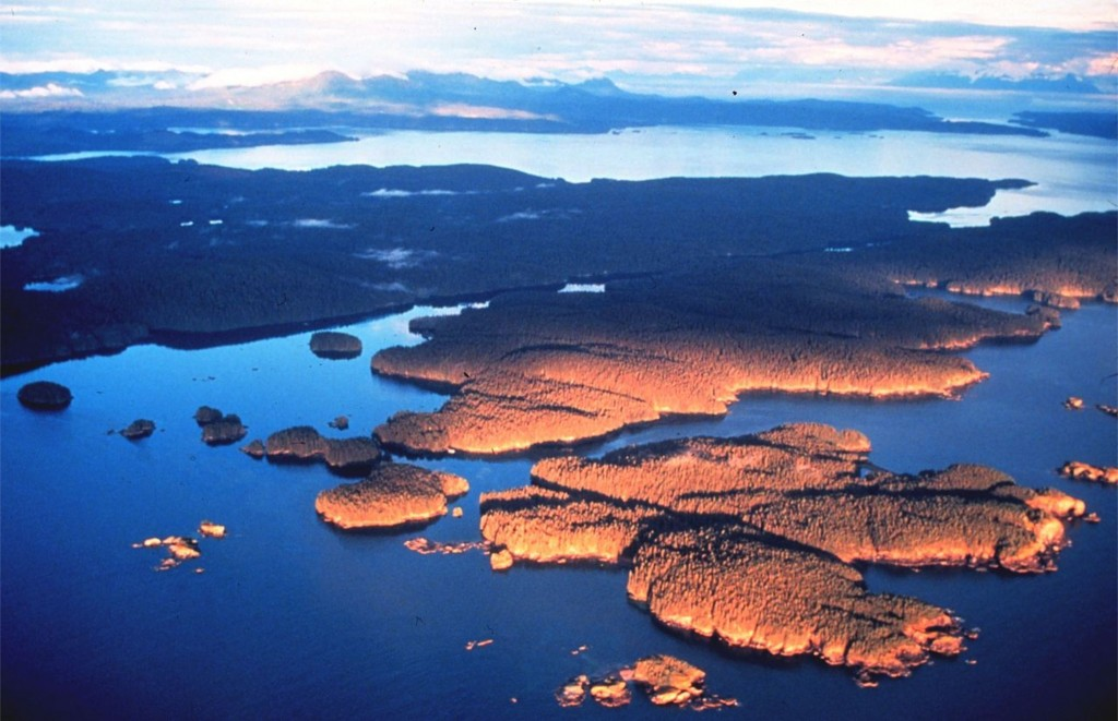 prince william sound alaska aerial view at sunset