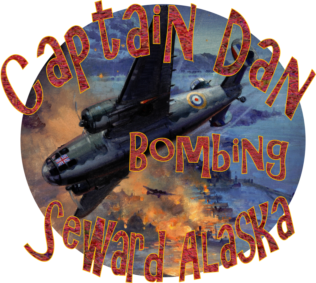 Captain Dan in his Lend Lease British Bomber attacking Seward Alaska