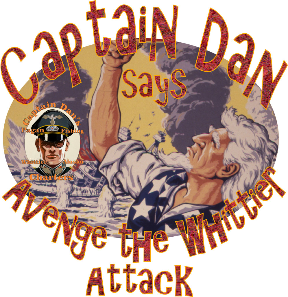 Captain Dan shakes fist at the Dastardly Attack by Seward Alaska