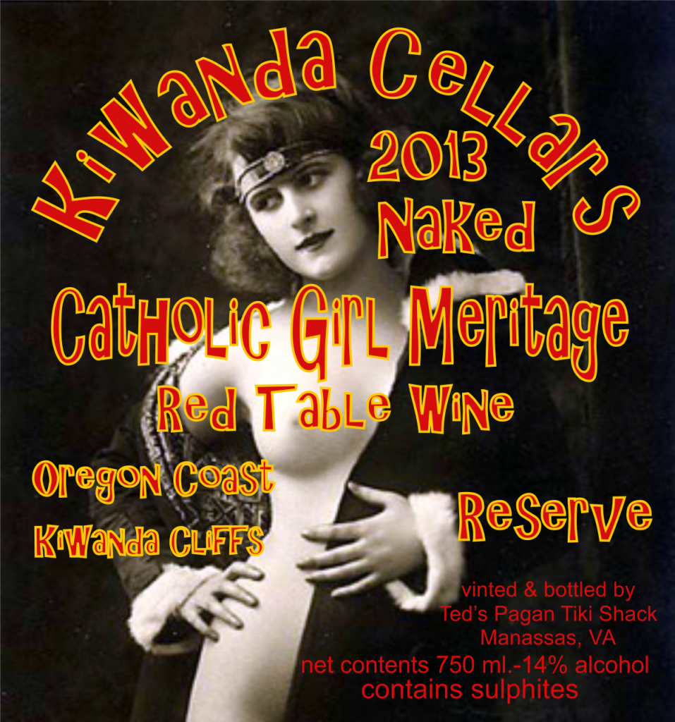 Kiwanda Cellars 2012 Naked French Catholic Girl Red Table Wine Pacific City Oregon Cape Kiwanda Cellars OR