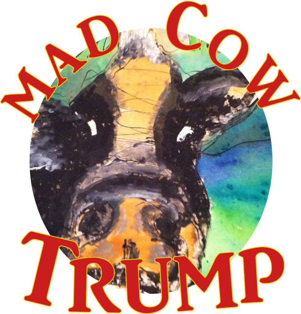 Artists rendition of Donald Trump the Mad Cow at last night's news conference where video coverage was banned.